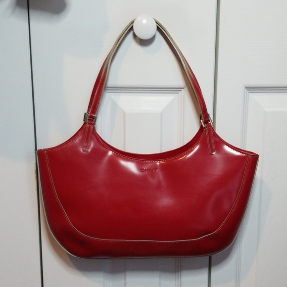 Dkny Handbags - DKNY Red Patent Leather Shoulder Bag